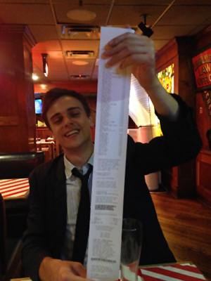 I will probably never see a receipt that long at a restaurant for a very very long time.