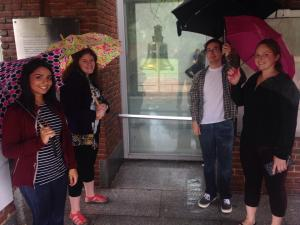 All the interns soaking wet but finally by the liberty bell