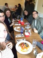Slightly blurry picture of everyone at Sabrina's Cafe in Philadelphia
