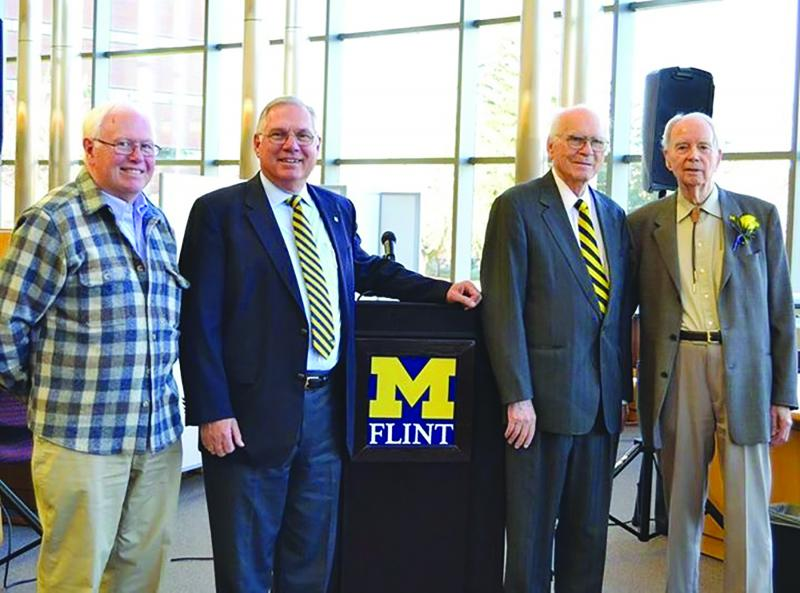 Dr. Donald Boys, David Zick, Dr. Donald DeGraaf, and Dr. Frank Rose at the dedication ceremony for the DeGraaf Learning Center. Photo courtesy of David Zick.