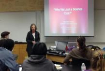 During an AAPT workshop, Mary beth monroe gives a presentation on the importance of SPS chapters to the health of physics departments.  Photographer unknown.