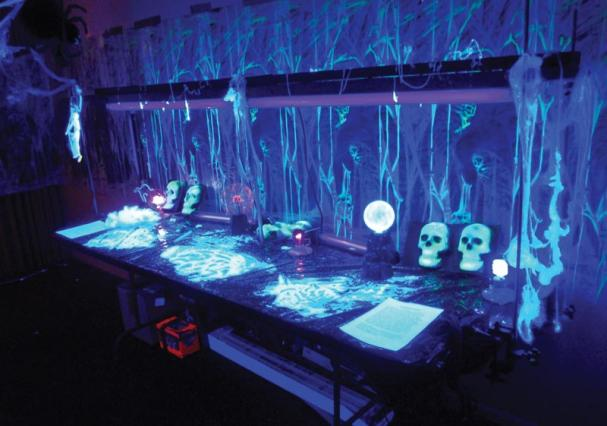 "The Idaho State University SPS Haunted lab  demonstration ""Phun with Phluorescence."" Photo by Jordan Keough."