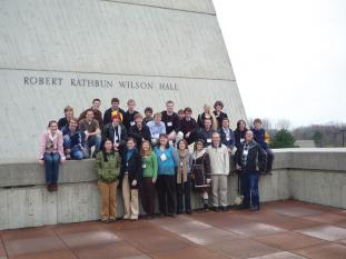 Our group from Grove City College poses outside Wilson Hall at the 2008 PhysCon at Fermilab. Photo courtesy of the author.