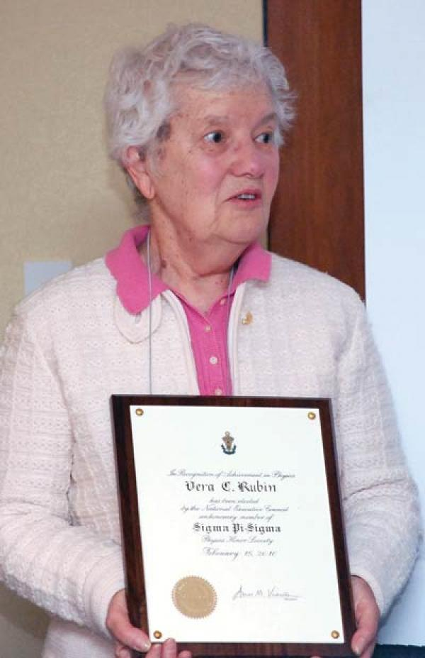 On February 16, 2010, Sigma Pi Sigma recognized Dr. Rubin with its highest distinction. Honorary Membership.