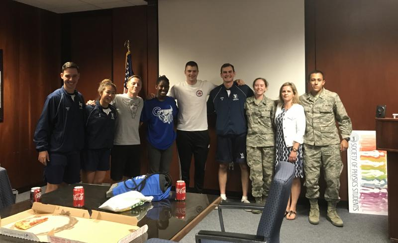 Students from the USAFA SPS chapter pose with Gearba-Sell during a meeting. Photos courtesy of Alina Gearba-Sell.