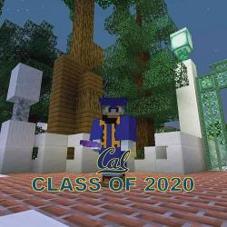 Nick Pickett's Minecraft avatar celebrates graduation. Image courtesy of Nick Pickett/Blockeley University.