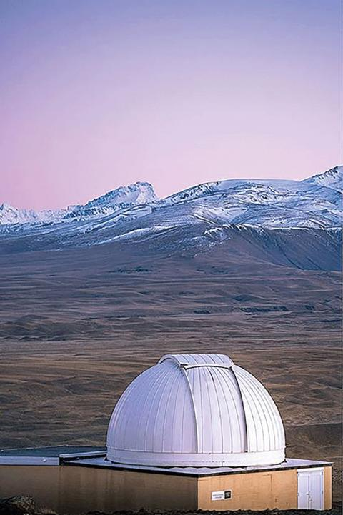 Astronomical dome on Mt. John at dawn against the backdrop of the Southern Alps, New Zealand. Photos courtesy of Steve Mackwell.