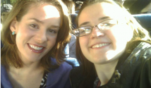 Tiffany LaByer and Marie Blatnik travel by bus to BNL.