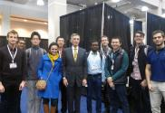 A group of students and Donald Sadoway of MIT (center), who is responsible for development of the liquid metal battery and works with his startup Ambri on grid scale energy storage.