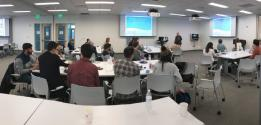 The SPS Zone 3 Meeting was hosted at USciences' state-of-the-art IPEX meeting rooms, with participants surrounded by LCD projection screens lining the walls. Above: SPS Director Brad Conrad leads the Physics Career Toolbox Workshop.