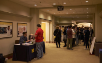 Saturday morning poster session in West Hall