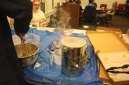 Liquid nitrogen ice cream was made by Spencer Hulsey, the coordinator for PhysVan, the student outreach group in the UIUC physics department.