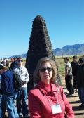 Mary Beth Monroe at Trinity Site in New Mexico during the 2004 congress of Sigma Pi Sigma. Photo by Tracy Nolis-Schwab.