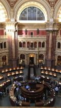 The main reading room at the Library of Congress from the after-hours scavenger hunt.